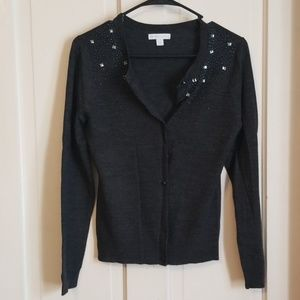 New York and company dark grey beaded cardigan s